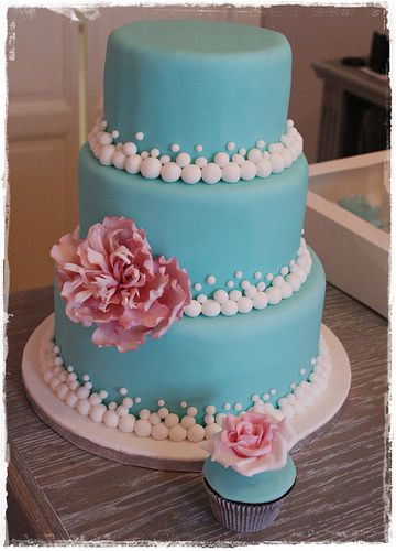 tiffany cake and cupcake ( would look fantastic with the cupcakes displayed on a tower)