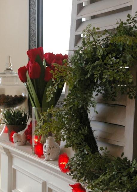 Subtle Romantic Valentine Mantel