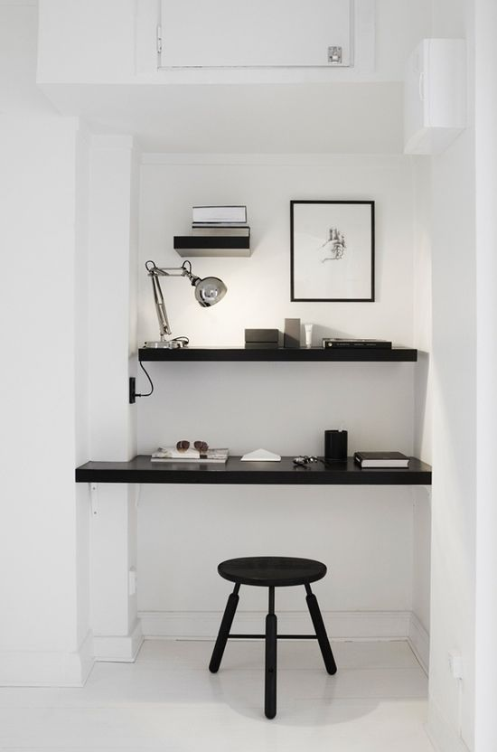 #interior design #office spaces #desks #white #style #inspiration #shelving