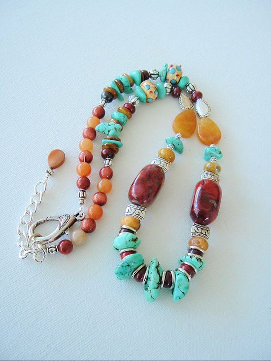 Boho Chunky Gemstone Necklace Southwest Jewelry by BohoStyleMe