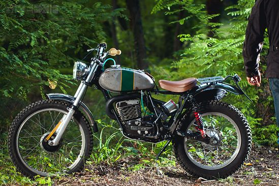 This lovely little machine is an SWM 320TL trials bike, restored by Lorenzo Buratti for his 17-year-old daughter to learn to ride on.