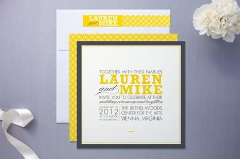 lemon colored wedding invite