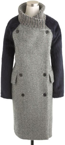 J.crew Green Collection Tweed Coat with Jeweled Collar
