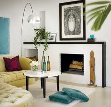 white walls living room design  with fireplace