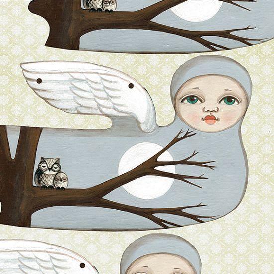 Angel Bunting Woodland Owl Christmas Garland par cartbeforethehorse, $12.00