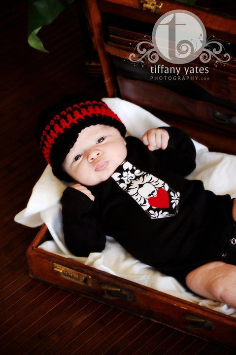 I Love Mom, Get the Set and Save -- Beanie and Tie Onesie w/ Heart - Baby Boy Clothing (Pick Your Color) 0-3, 3-6, 6-12, 12-18m. $37.95, via Etsy.