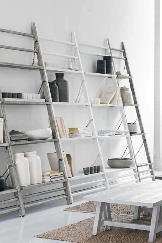 Swap traditional storage shelves with these beautiful leaning ladder shelves instead. #homedecor #storage