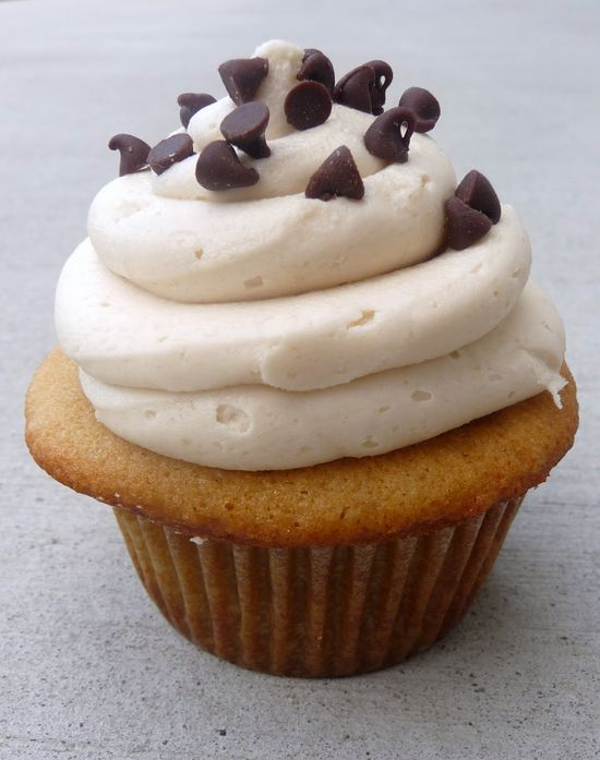 Cookie Dough Cupcakes with Cookie Dough Buttercream frosting. I am totally making this frosting. Even if I have to just eat the frosting.
