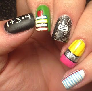 Back to School Nails for teachers! Too Cute! - Pinned on behalf of Pink Pad, the women's health mobile app with the built-in community #nails #nailart