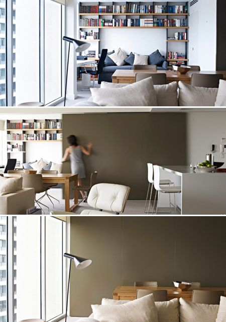 Creative Home Office With Sliding Wall Panels