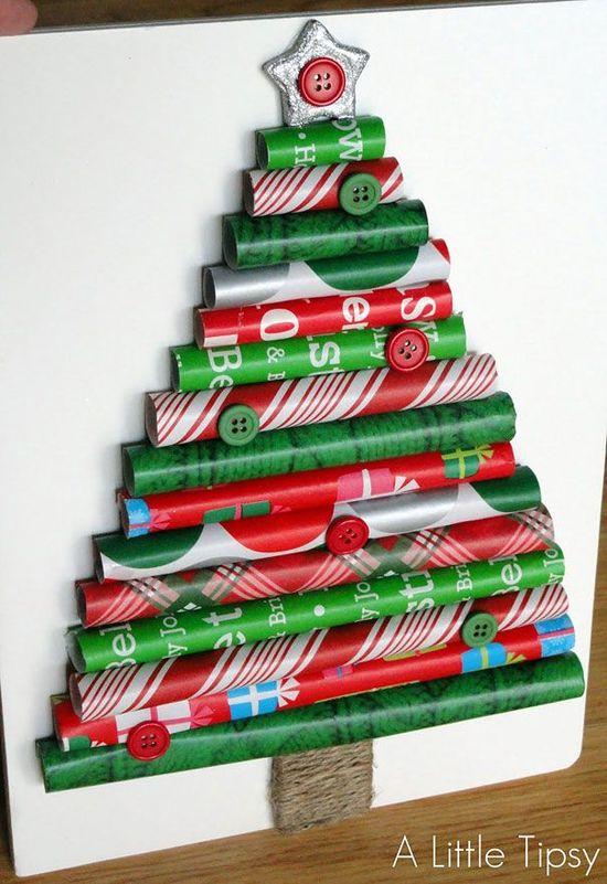 Gift Wrap Christmas Tree! DIY Thursday: 17 DIY Christmas Tree Ideas #christmas #holidays #diy