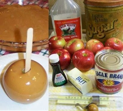"Grandma Betty's Caramel Apples -pinner says:  ""A family favorite for over 50 years. Once you try this, you will never go back to unwrapping and melting all those commercial caramels to dunk apples in!"""