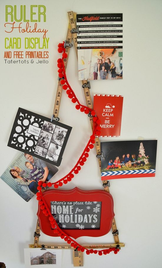 Ruler Holiday Card Display and 12 Free Printables! -- Tatertots and Jello #DIY #Christmas