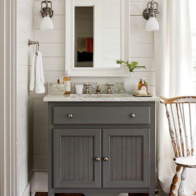 gray vanity, marble top, planks