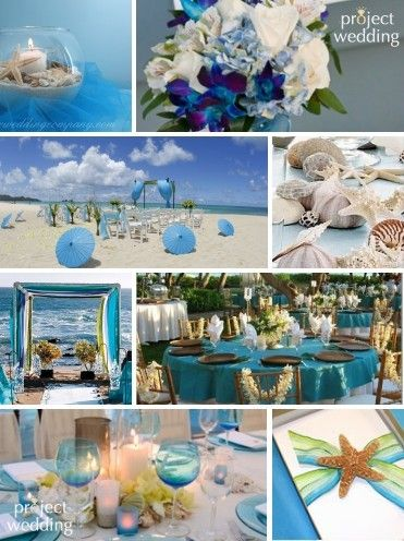 Beach wedding inspiration - I like the blue/green color combo the most, but the other ideas on this site are also beautiful