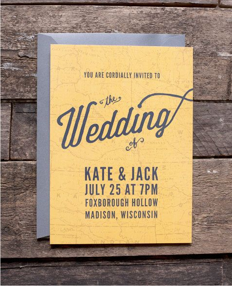 Wedding invitation - Vintage Map Invitation Set. $4.50, via Etsy.