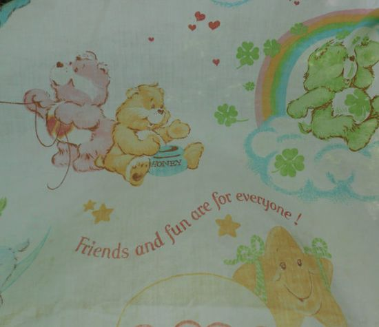 Care Bears Sheet Vintage 80s Cartoon Twin Ned Fitted by kerrilendo, $6.00