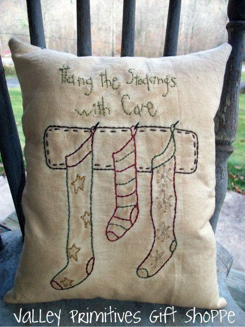 Primitive Christmas Stockings  Pillow