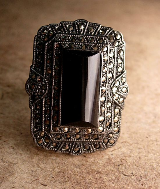 Stunning Art deco vintage 1920's onyx Ring by vintagesparkles