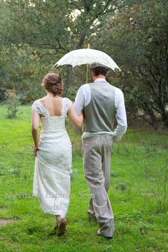 Vintage Inspired Bridal Wedding Dress By Sheena Espiritu Solis. $795.00, via Etsy.