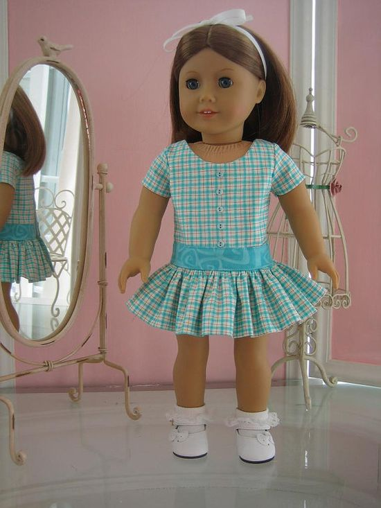 School dress made to fit 18 inch American Girl doll by MenaBella