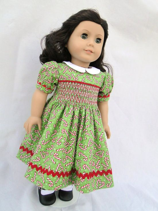 Hand Smocked Candy Cane Dress for American girl doll