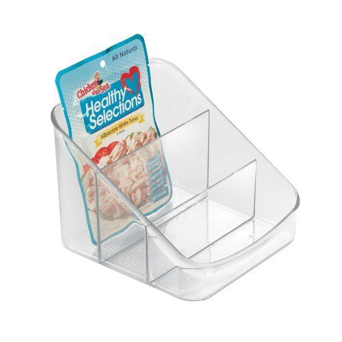 InterDesign Linus 6 by 6-1/4 by 5-1/4-Inch Packet Organizer, Clear by InterDesign. $10.07. Ribbing detail prevents sliding. Clear design for easy viewing. Keeps packets organized. 5-Inch by 7-1/2-Inch by 6-Inch. Made of Resipreme. Keep your packets of spices, dips and seasoning mixes neat and organized with this Linus Packet Organizer. Constructed of sturdy and durable resipreme, the packet holder stores all the packets of your favorite mixes in 3 divided compa...