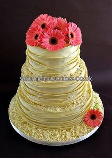 White Chocolate Wrap & Fresh Gerberas Wedding Cake