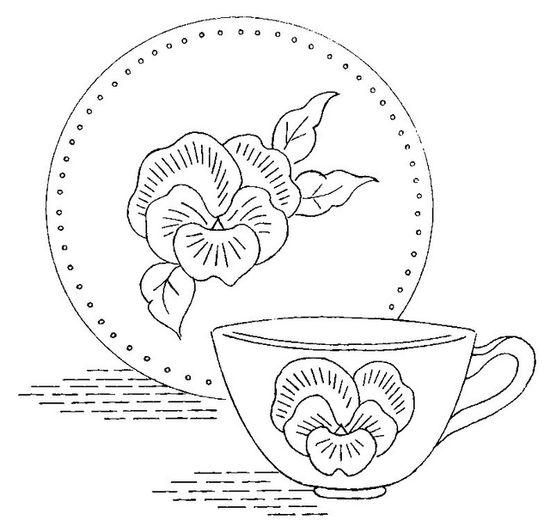 Pansy dishtowel - embroidery pattern