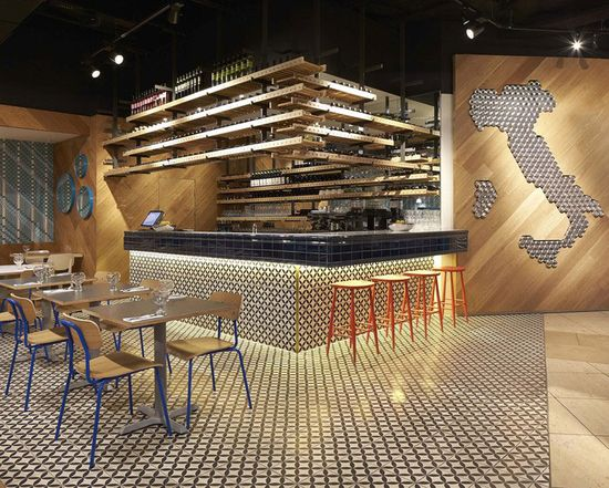 Colorful Ceramic Tiles at the Decor of an Italian Restaurant simple interior italian restaurant decor