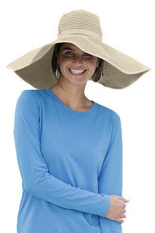 Shapeable Poolside Sun Hat: Sun Protective Clothing - Coolibar - Tan Poolside Sun Hat