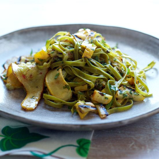 Spinach Fettucine with Tangy Grilled Summer Squash // More Vegan Dishes: www.foodandwine.c... #foodandwine