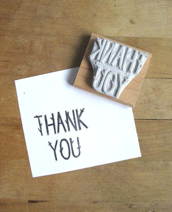 Twig Letter Thank You  Hand Carved Stamp by extase on Etsy, $12.00
