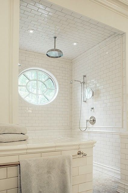 white subway tiles with very light gray grout