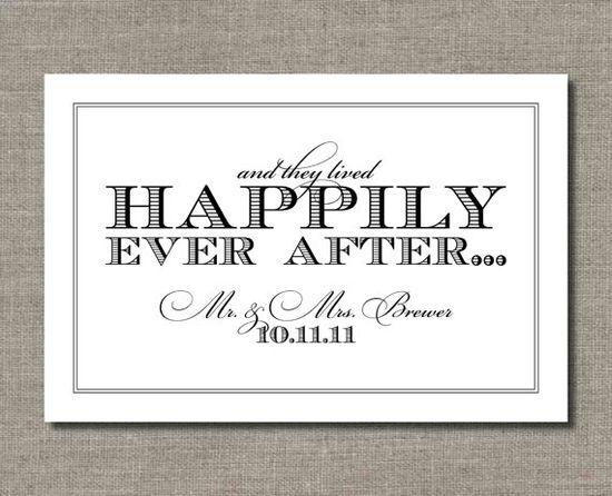 Happily Ever After - Printable Wedding Poster, from FlairDesignery, #ETSY