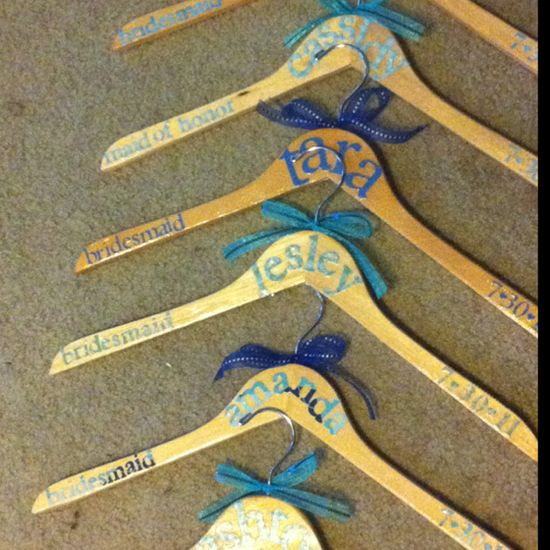 Hangers for bridesmaids dresses for wedding pics