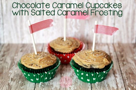 Chocolate Caramel Cupcakes with Salted Caramel Frosting