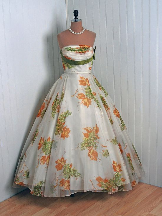 """1950's organza """"shelf bust"""" circle gown. I LOVE the colors in this dress."""