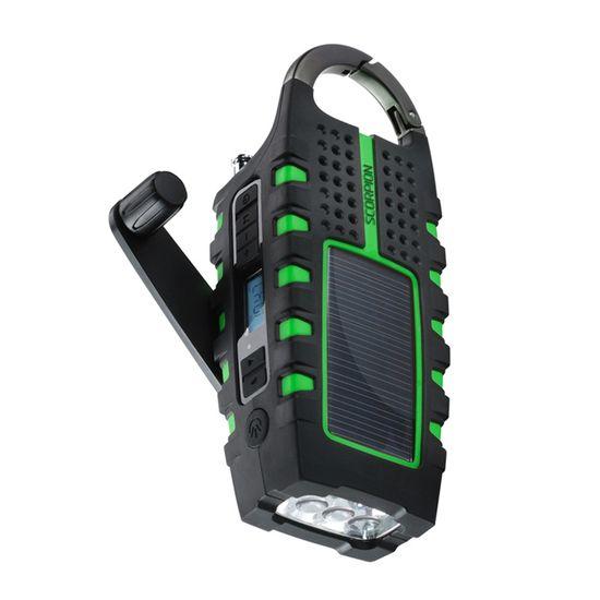 Eton Scorpion - flashlight + digital radio + usb phone charger.  use the crank or solar panel to charge