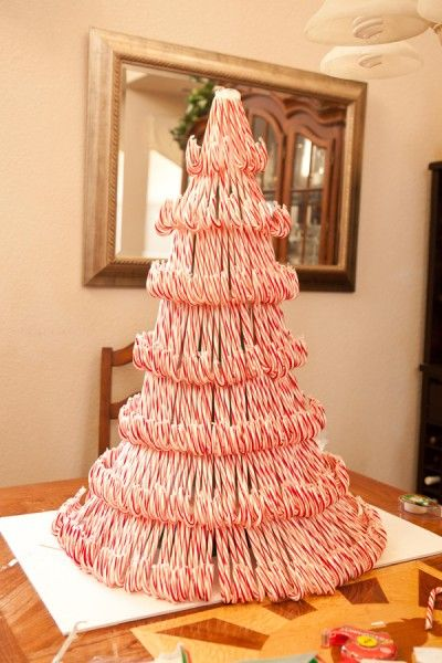 DIY Candy Cane Christmas tree ~ amazing with lots of pictures and instructions ~ kids/grands will love! #diy #craft #tutorial