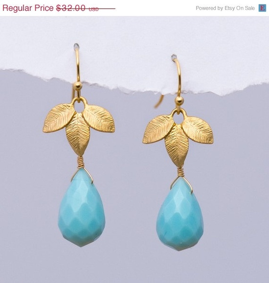 CLEARANCE  Large Blue Quatz Drops and 16K Gold Plated by delezhen, $19.20