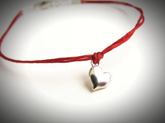 Sterling Mini Puff Heart bracelet on linen by JewelryByMaeBee on Etsy.