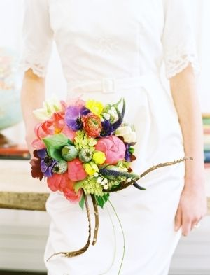 purple, pink, yellow, green bouquet by ArtisanBloom.com // photo by LeoPatronePhotogr...