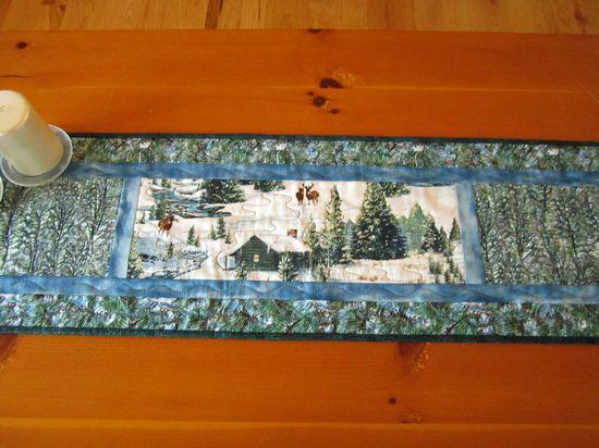 Handmade Quilted Table Runner Winter Scene