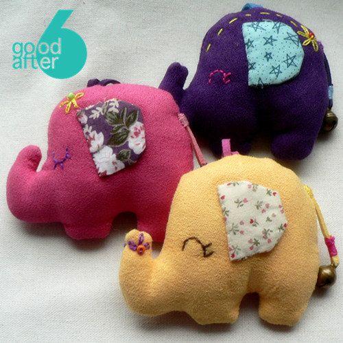 Handmade cotton toy stuffed animal pattern kawaii animal elephant plushie. $8.00, via Etsy.