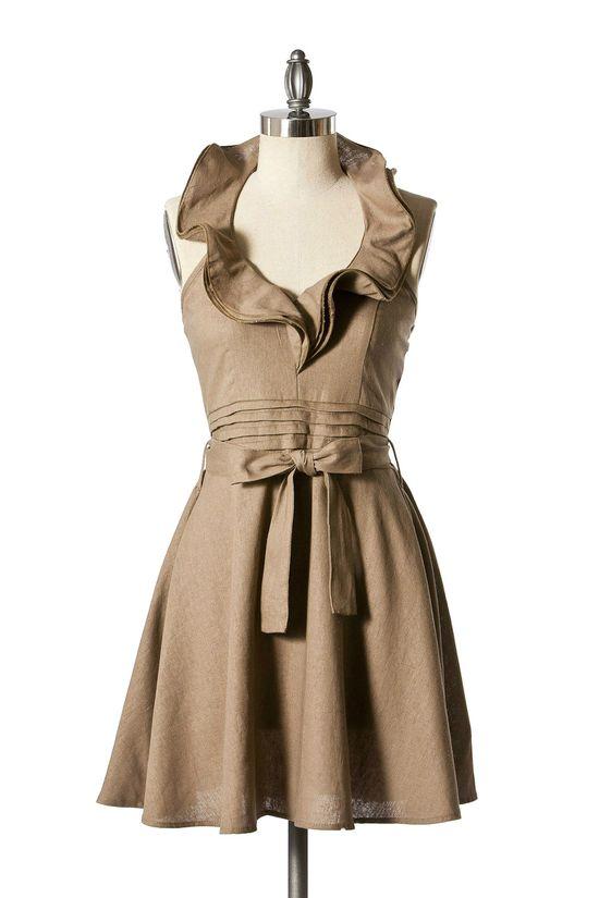 Ruffles & Pleats Halter Dress - Sand