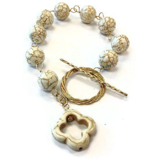 White Turquoise Bracelet Yellow Gold Jewelry by jewelrybycarmal, $39.00