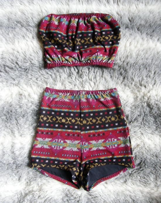 Aztec high waisted vintage style bandeau bikini by BOODWAH on Etsy, £45.00