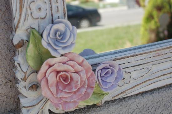 Shabby chic flowered mirror