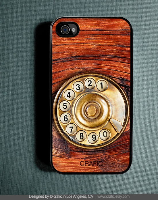 CALL ME! Wood Rotary Phone iPhone Case - Fits iPhone 4 and iPhone 4S. $15.99, via Etsy.